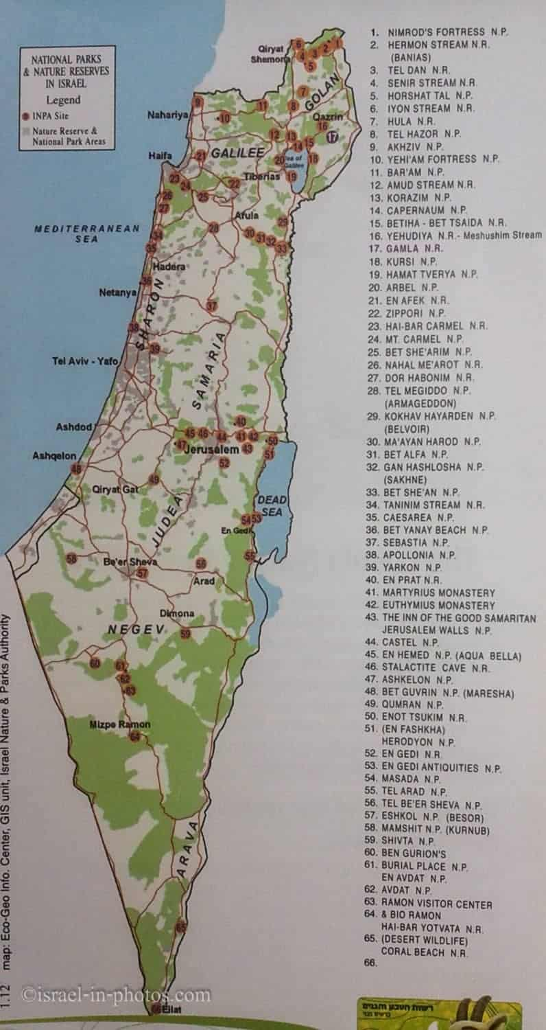 National Parks In Israel Israel In Photos - Map of israel