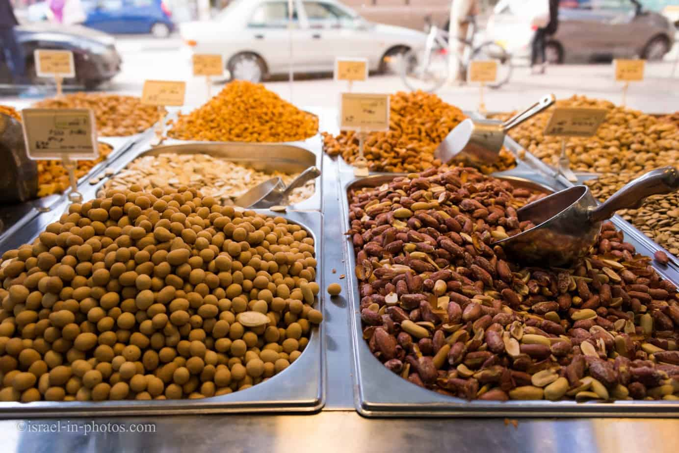 Nuts and seeds in a store at Kfar Saba