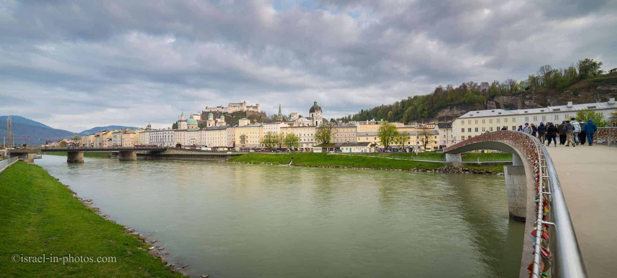 View of Fortress Hohensalzburg and Salzach river in Salzburg, Austria
