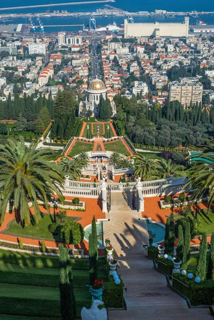 The gardens and Bahai Shrine from the top