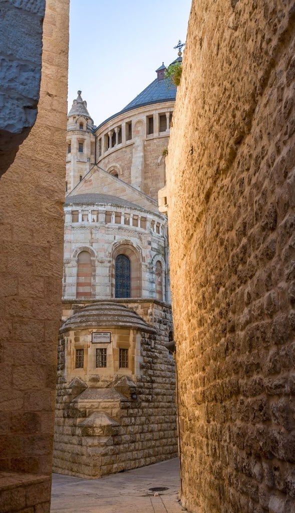 Dormition Abbey when arriving from the Old City