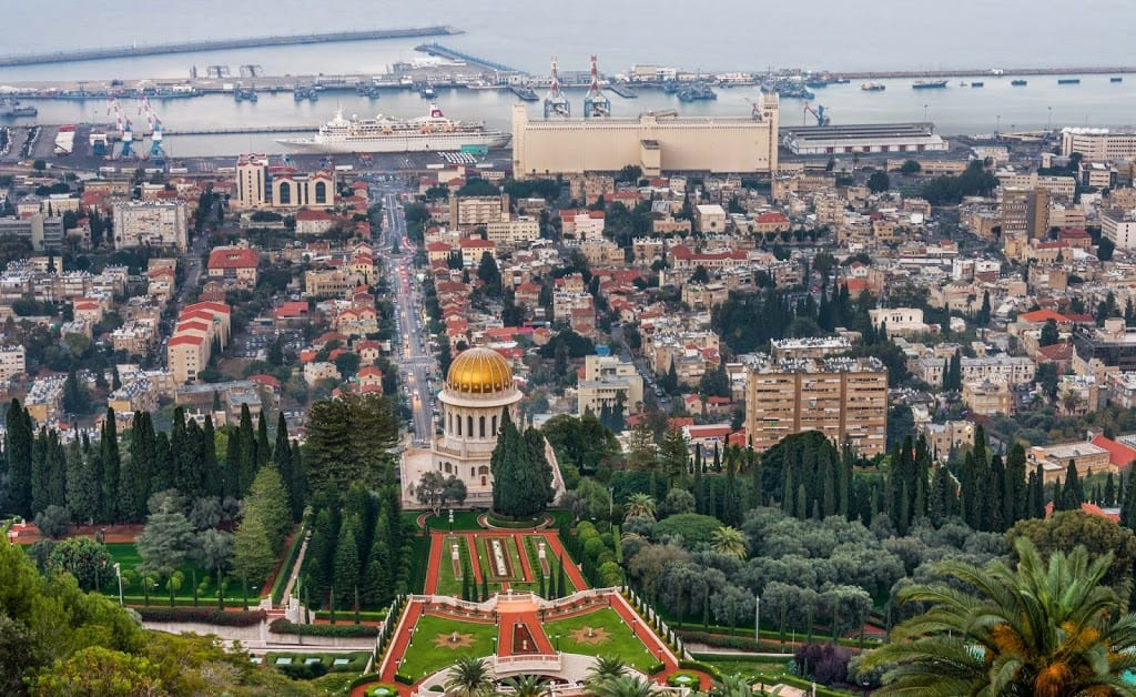 Bahai Temple and downtown