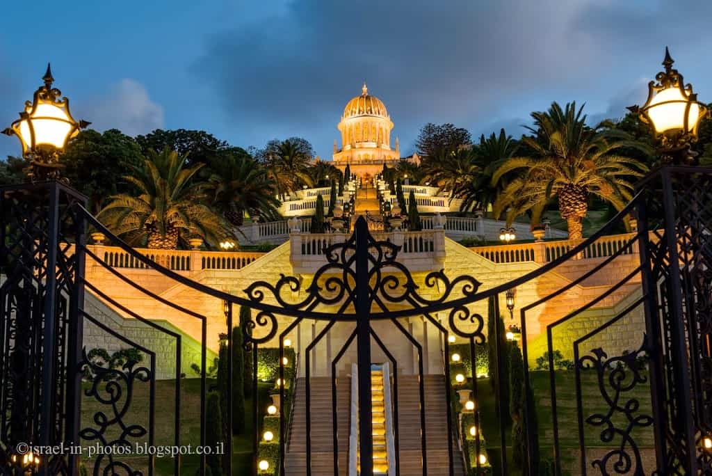 Bahai Temple with leading stairs (shot from UNESCO square)