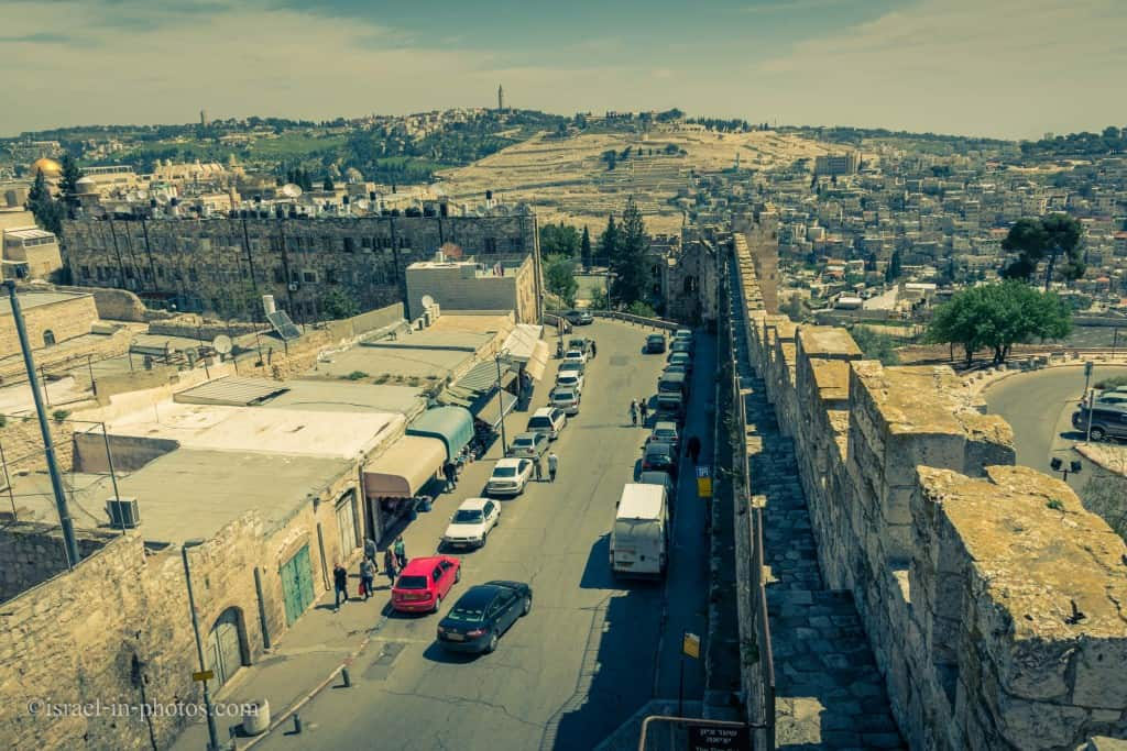 Standing on top of Zion Gate and looking towards Mount of Olives