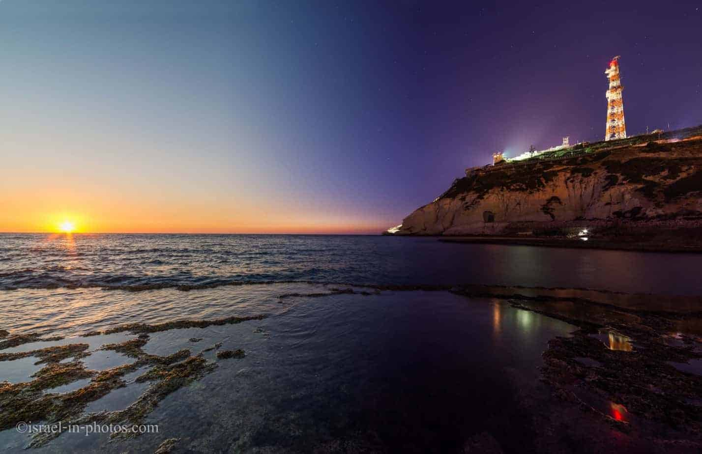 View of Rosh Hanikra from Achziv Beach, Israel