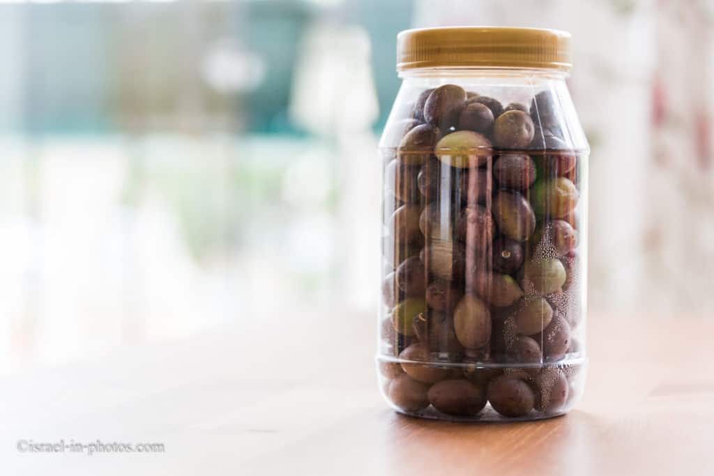 Self-harvested olives in a can