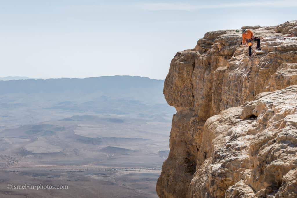 Abseiling on the edge of Makhtesh Ramon