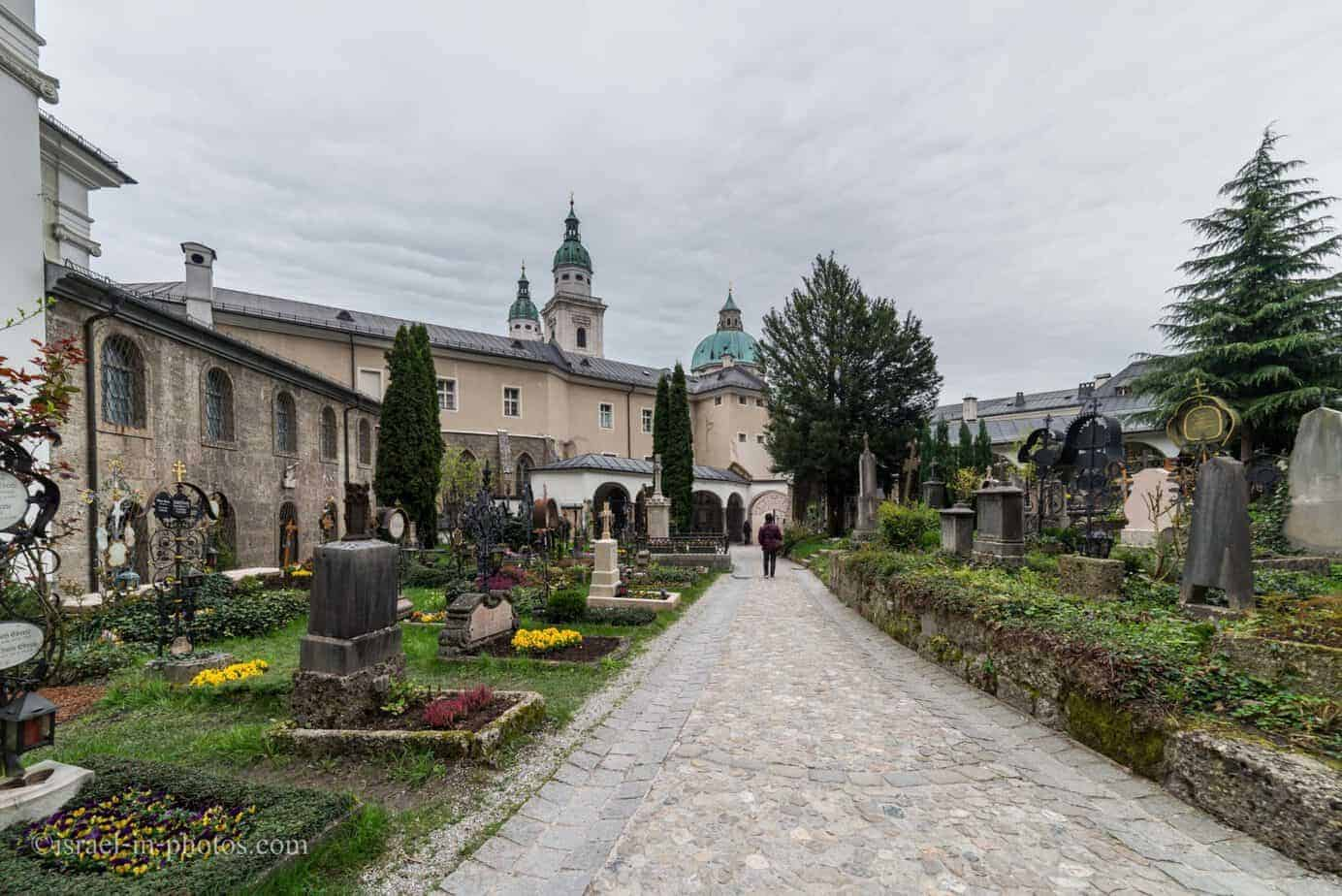 Visiting Petersfriedhof cemetry in Salzburg, Austria