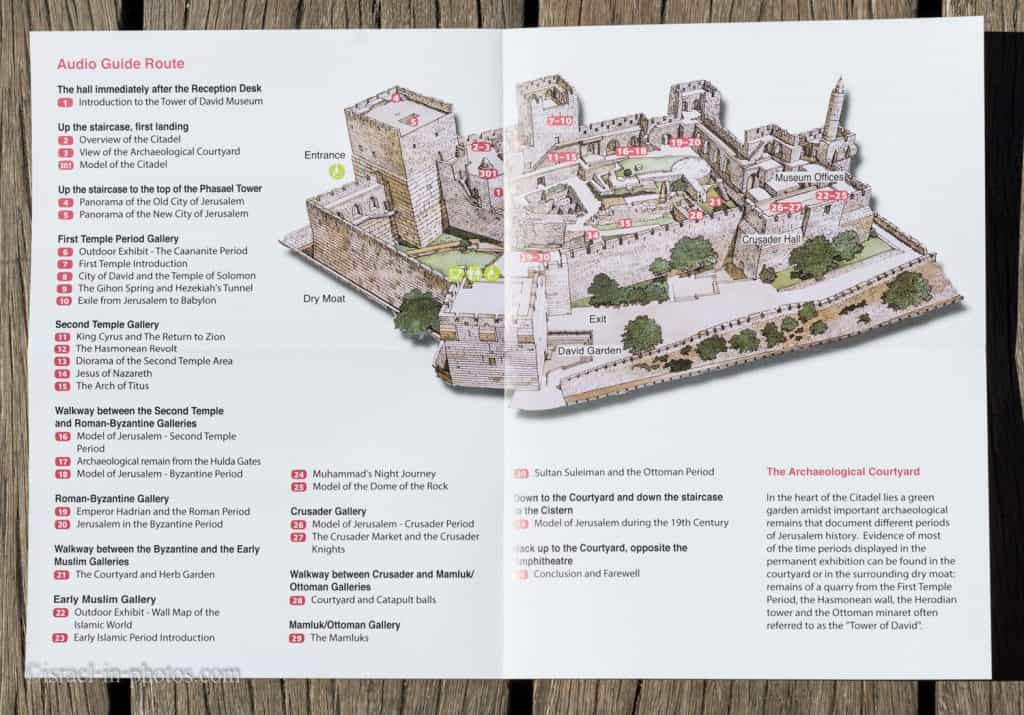 Tower of David - audio guide map