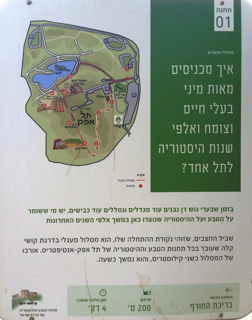 Map of the Squill trail at Tel Afek