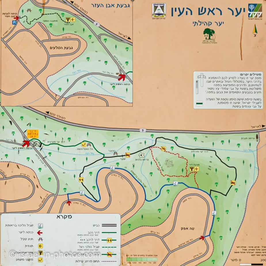 Map of Rosh HaAyin Forest