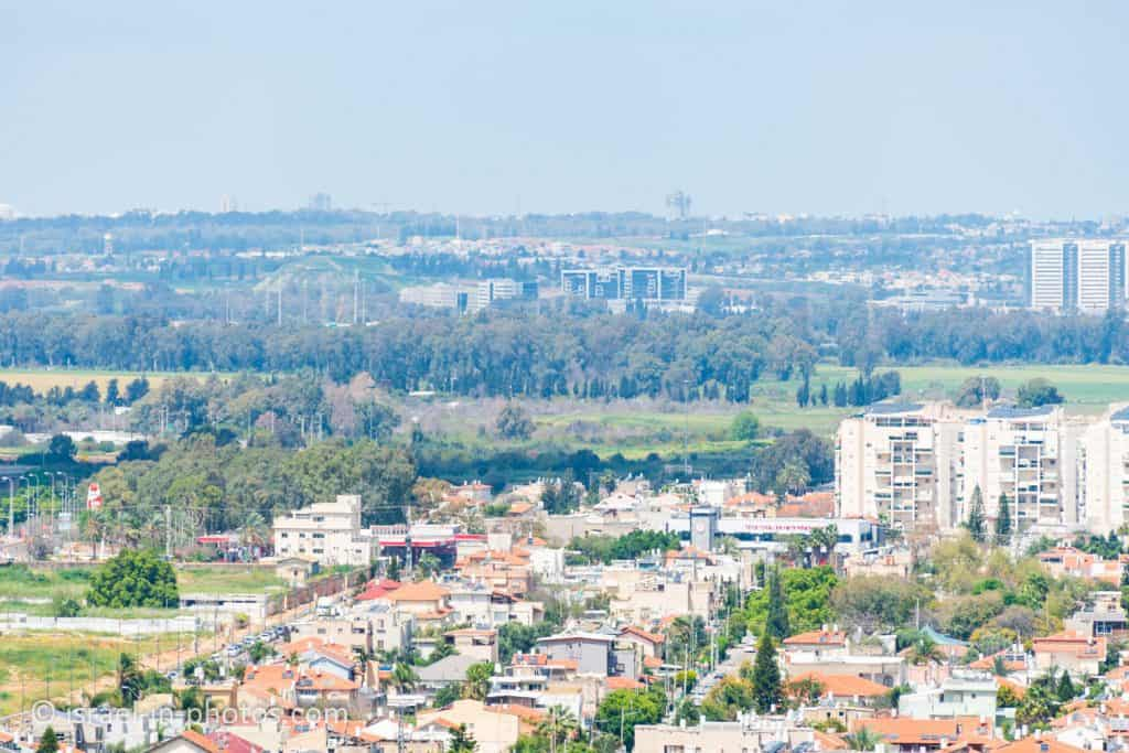 The mountain (top left corner) is a former waste dump in Hod HaSharon Park